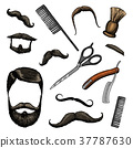 barbershop tools icon set. man or hipster fashion 37787630