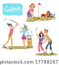 Set of illustrations of golf games. 37788267