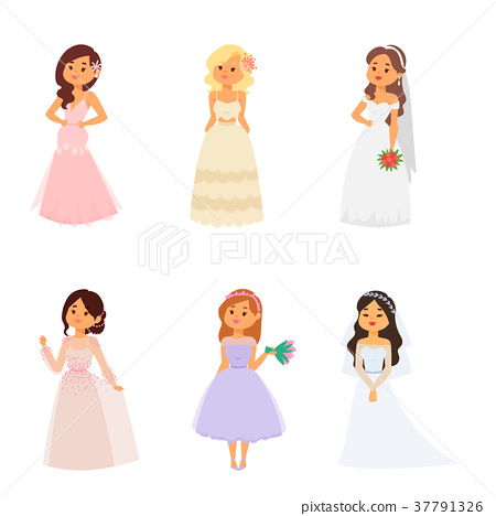 Wedding brides characters vector illustration 37791326