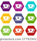 Cup of tea with tea bag icon set color hexahedron 37792942