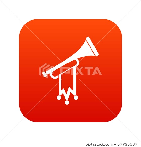 Trumpet with flag icon digital red - ภาพประกอบสต็อก [37793587] - PIXTA