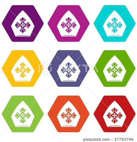 Christian hat icon set color hexahedron 37793746