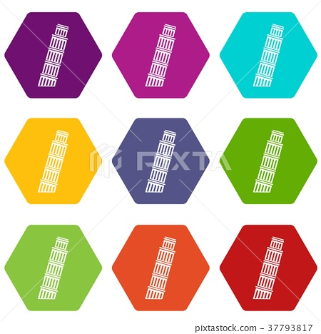 Tower of pisa icon set color hexahedron 37793817