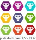 Athletic man torso icon set color hexahedron 37793932