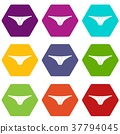 Thongs icon set color hexahedron 37794045
