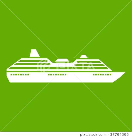 Cruise ship icon green 37794396