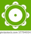 Tambourine icon green 37794934