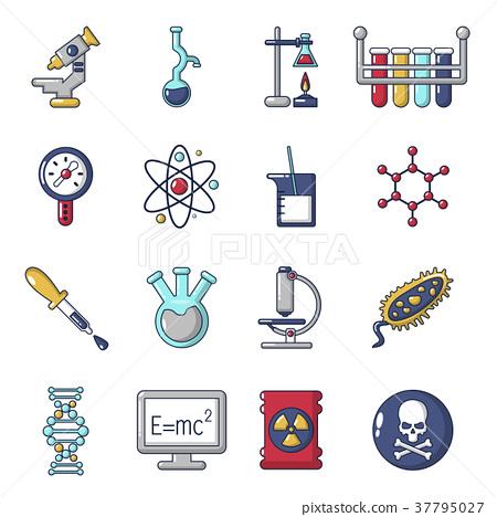 Chemistry laboratory icons set, cartoon style 37795027