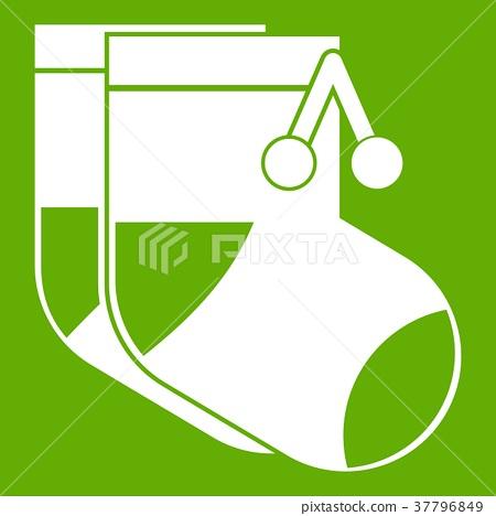 Baby socks icon green 37796849