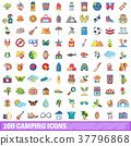 100, camping, icons 37796868