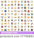 100 kingdom icons set, cartoon style 37796883