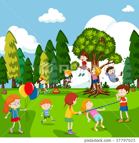 Many children playing games in park 37797025