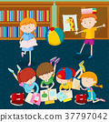 Children reading books in classroom 37797042
