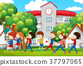 School band marching in front of school 37797065