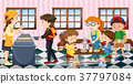 Kids eating lunch at the canteen 37797084