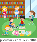 Students reading books in library 37797086