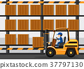 Construction site with man driving folklift 37797130