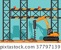 Construction site with drill digging hole 37797139