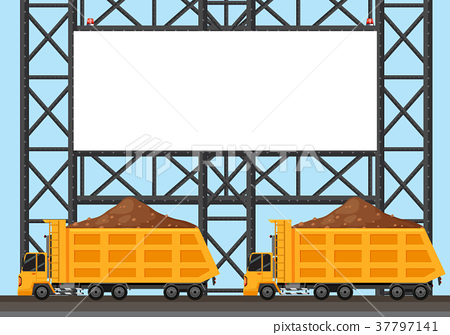 Border template with two lorry trucks 37797141