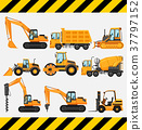 Different types of construction trucks 37797152