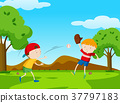 Two boys playing baseball in park 37797183