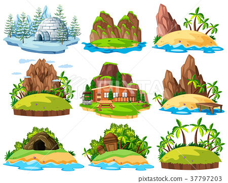 Different buildings and things on islands 37797203