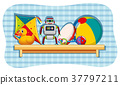 Different toys on wooden shelf 37797211