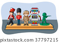 Soldier figures and robot on wooden shelf 37797215