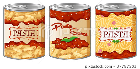 Three cans of pasta ans sauce 37797503