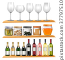 Wine glasses and food on wooden shelves 37797510