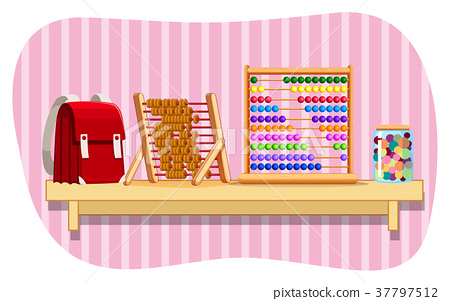 Schoolbag and abacus on shelf 37797512