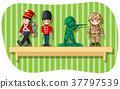 Soldier figures on wooden shelf 37797539