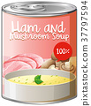 Ham and mushroom soup in can 37797594