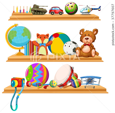 Toys and instruments on wooden shelves 37797607