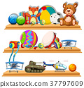 Different types of toys on wooden shelves 37797609