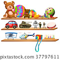 Toys on wooden shelves 37797611