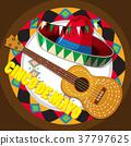 背景 吉他 帽子 37797625