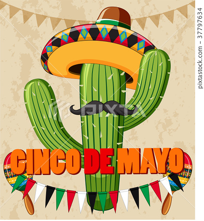 Cinco de Mayo poster design with cactus with hat 37797634