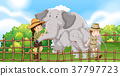Two elephants and kids in the zoo 37797723