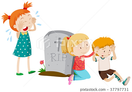 Three sad children by the grave 37797731