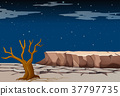 Nature scene with dry land at night time 37797735