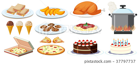 Different kinds of food on plates 37797737
