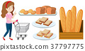 Woman with shopping cart and bread 37797775