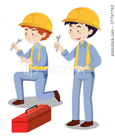 Two mechanics with toolbox 37797783