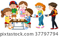 Children having lunch on table 37797794