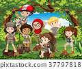 Many children hiking in the forest 37797818