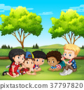 Happy children in the park 37797820