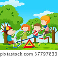 Children playing seesaw in the park 37797833