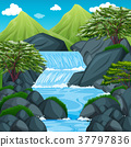 Background scene with waterfall in the mountain 37797836