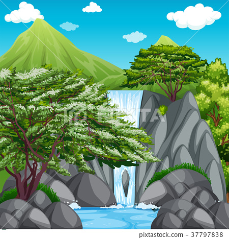 Nature scene with waterfall in mountains 37797838
